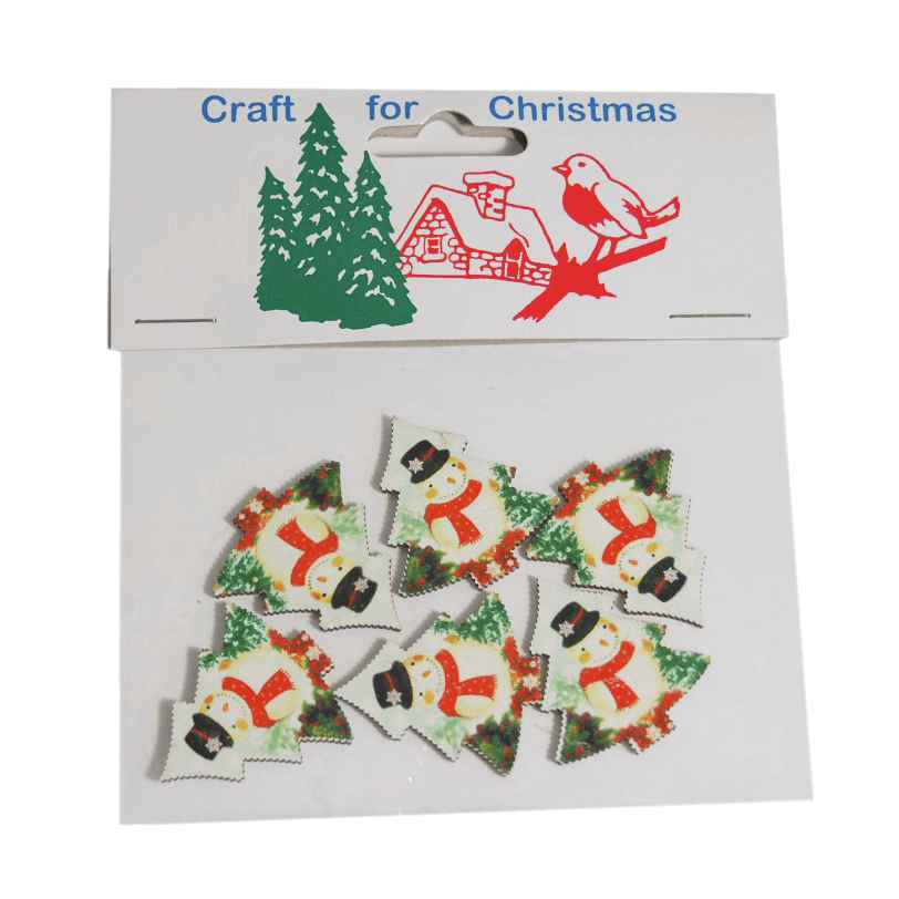 5 x Christmas Wooden Snowman Trees Embellishments Craft