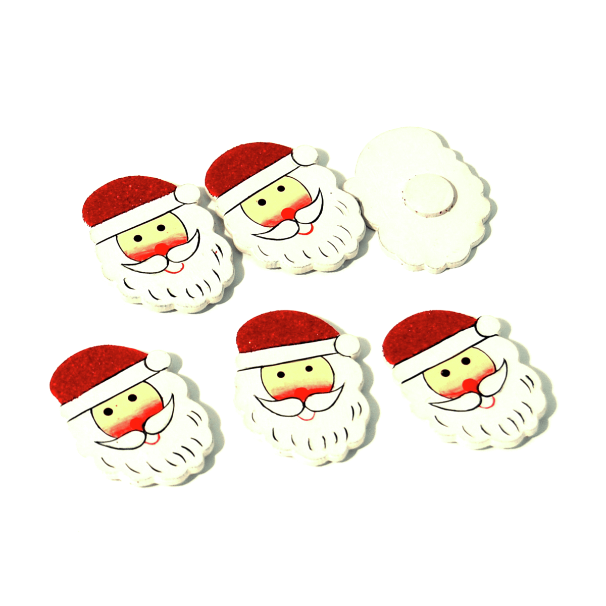 6 x Christmas Glitter Santa Pack Embellishments Craft