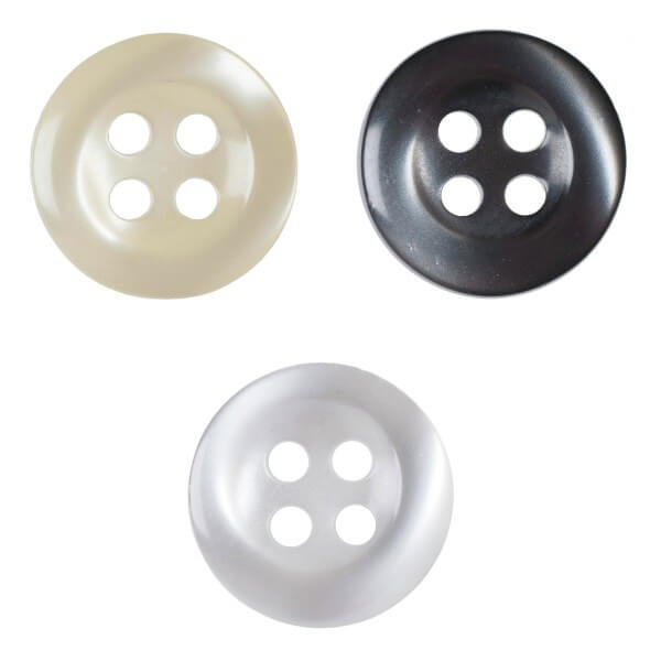 Pack of 6 Hemline Plain Pearlescent Dish 4 Hole Sew Through Buttons 15mm