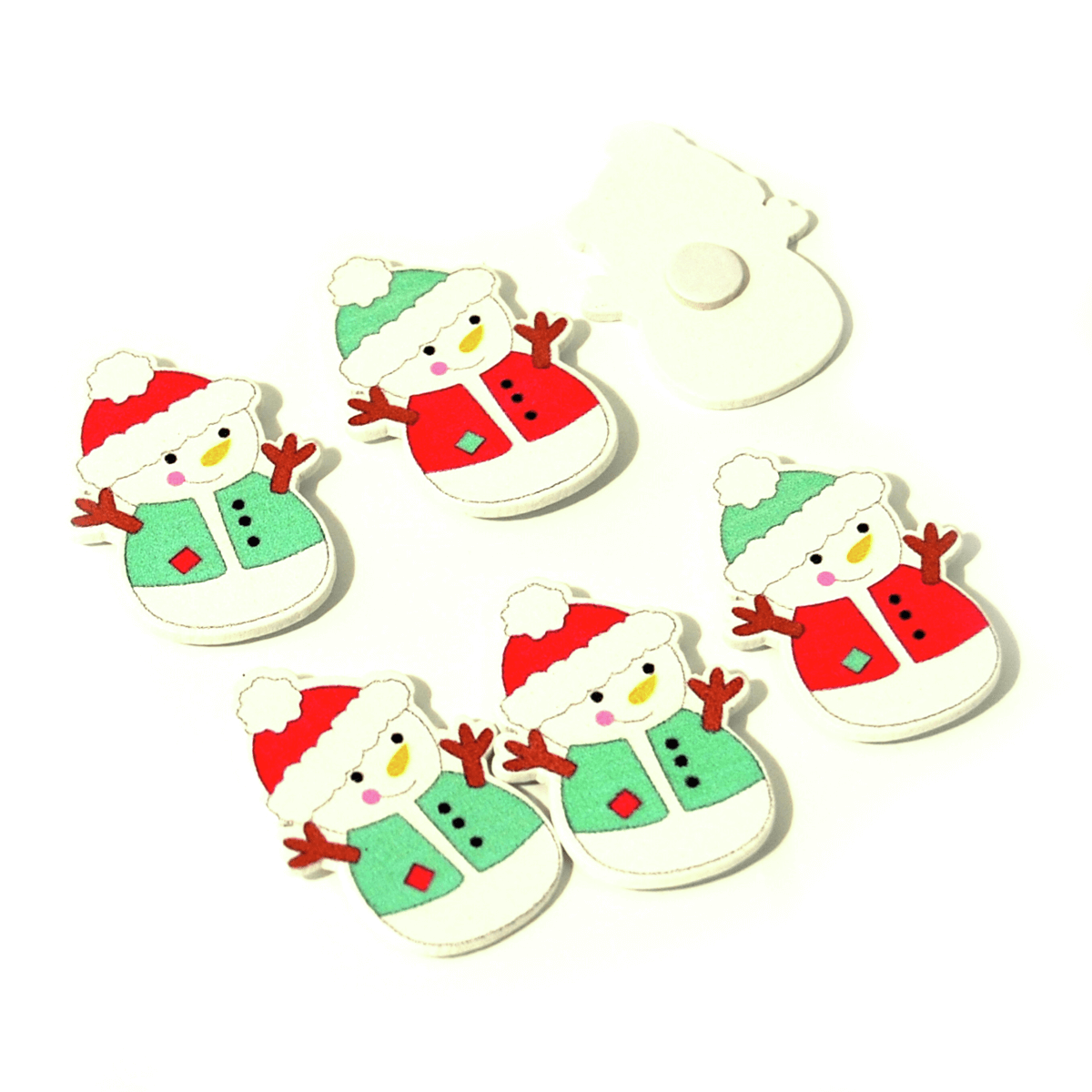 6 x Christmas Waistcoat Snowman Pack Embellishments Craft