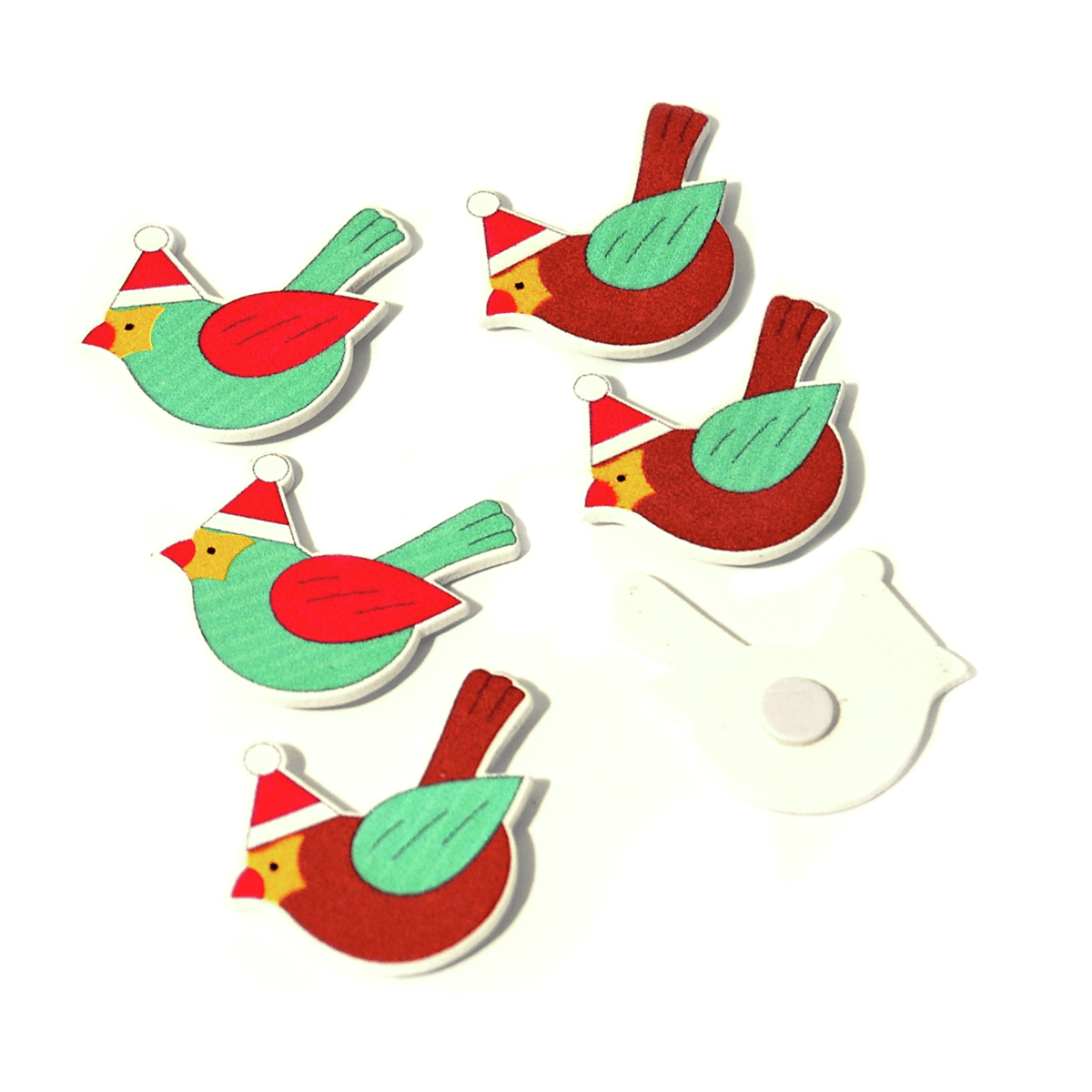 6 x Christmas Bird Christmas Hat Pack Embellishments Craft