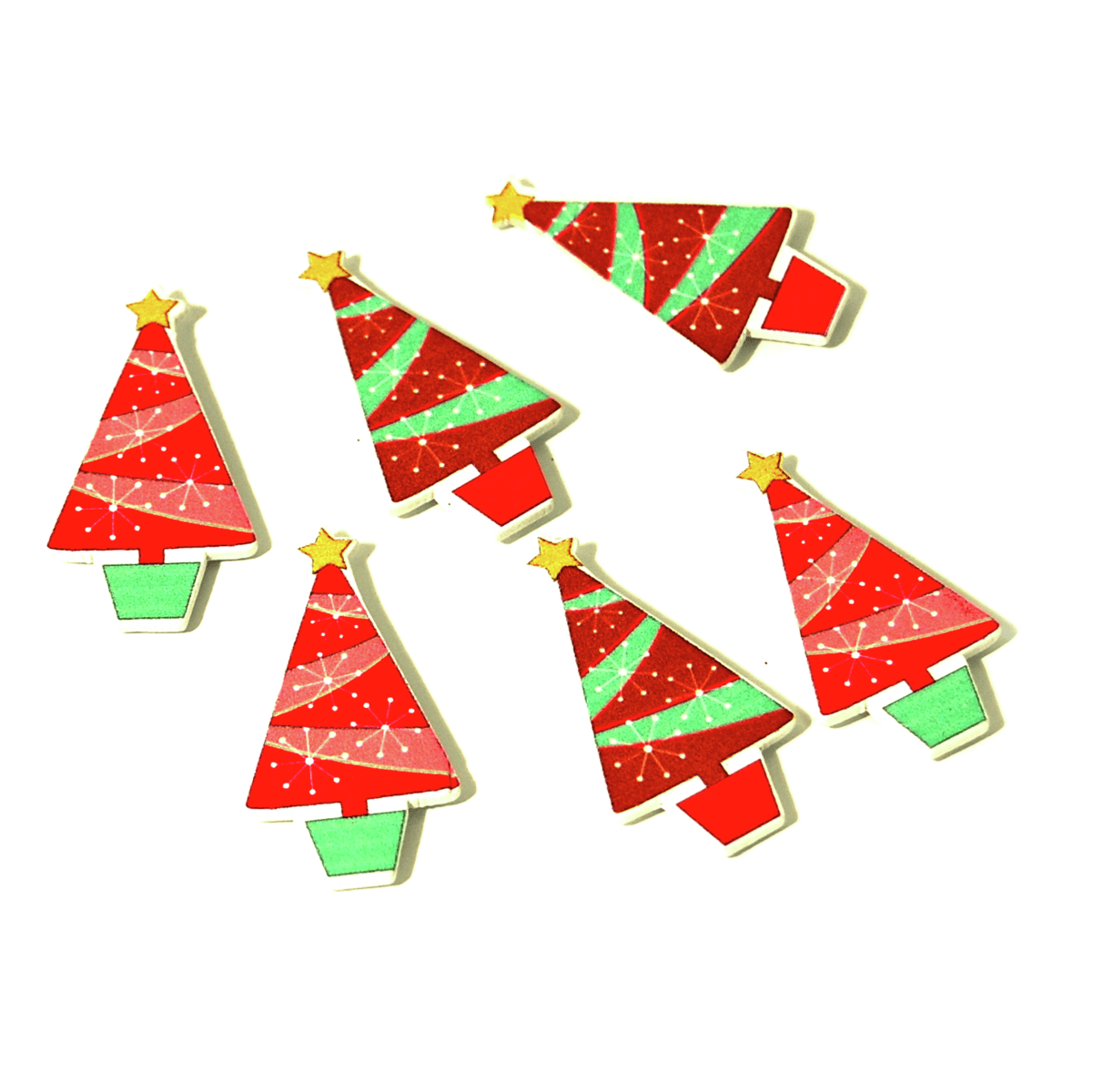 6 x Christmas Potted Tree Embellishments Craft