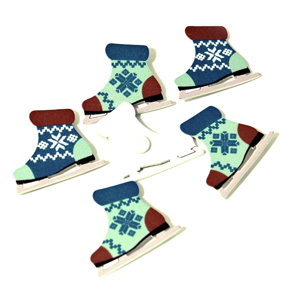6 x Christmas Bootie Skates Embellishments Craft