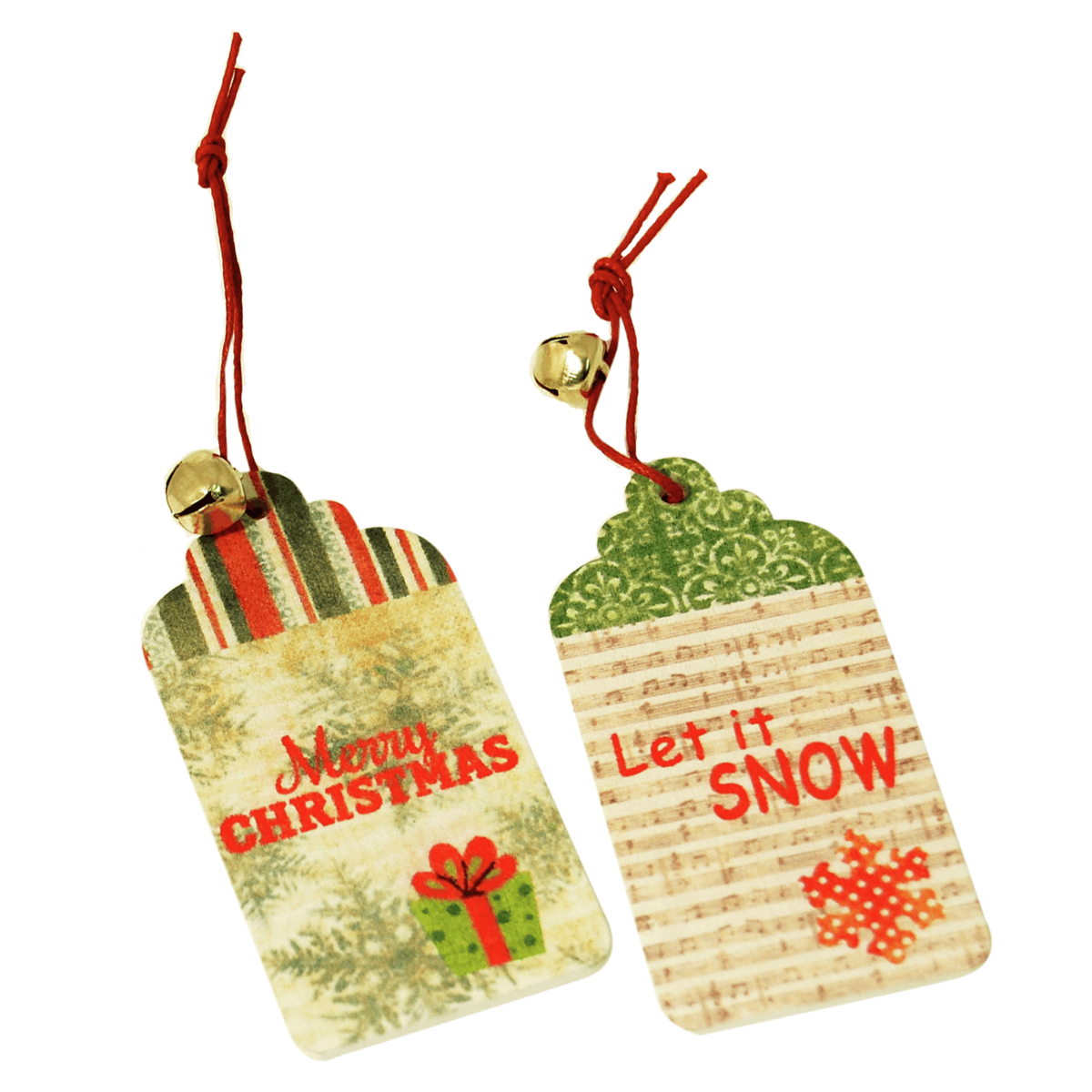 2 x Christmas Tag Let It Snow Embellishments Craft