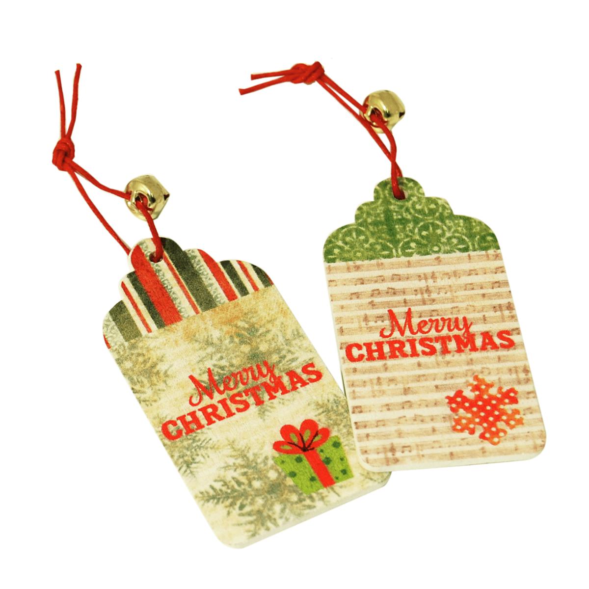 2 x Christmas Tag Merry Christmas Embellishments Craft