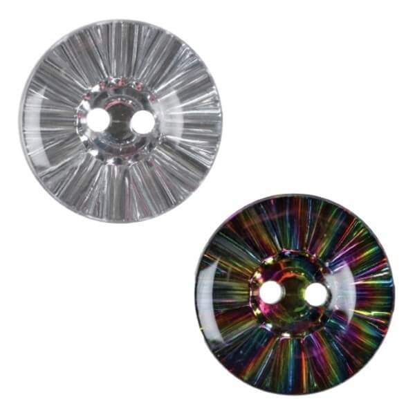 Pack of 2 Hemline Crystal Ball Effect 2 Hole Sew Through Buttons 17.5mm