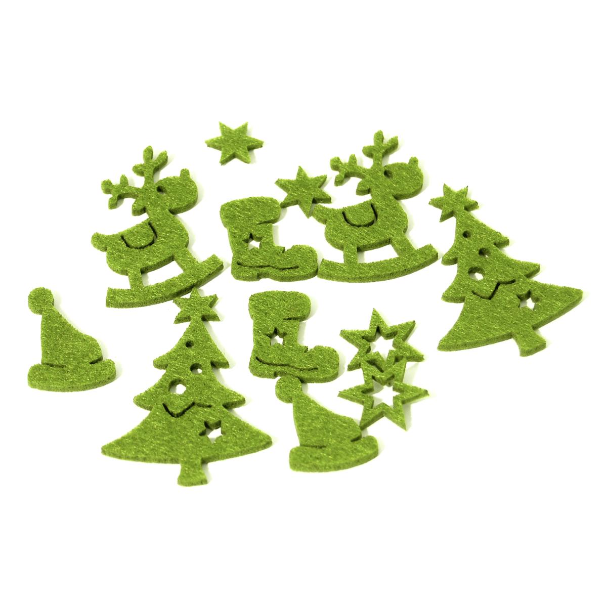 12 x Christmas Felt Assorted Green Embellishments Craft