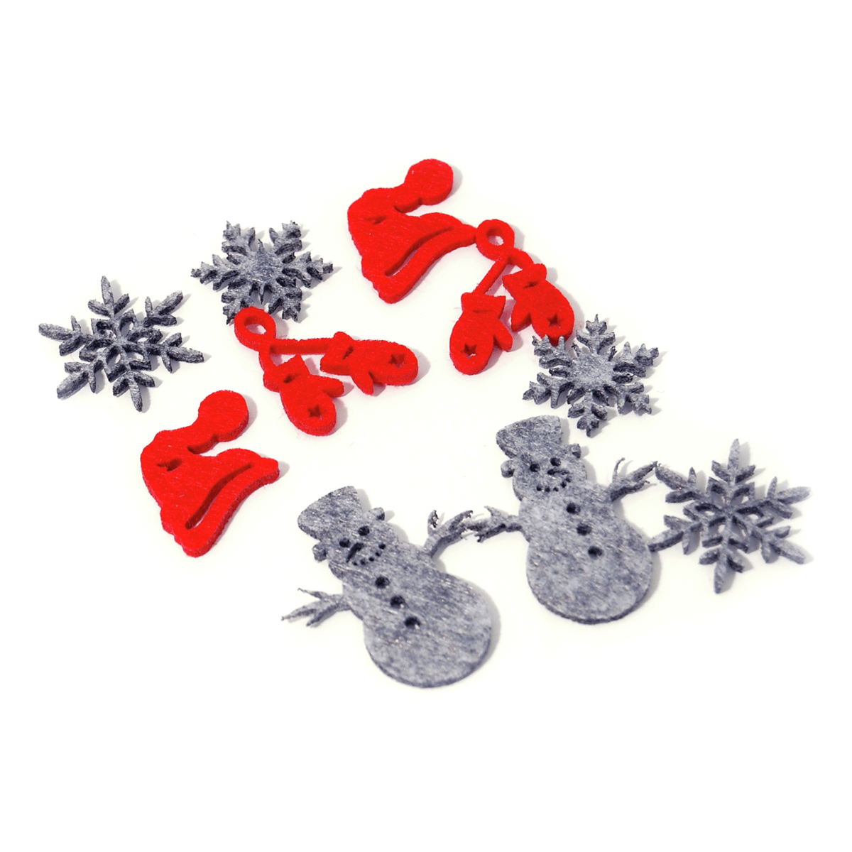 12 x Christmas Snowman Red/Grey Embellishments Craft
