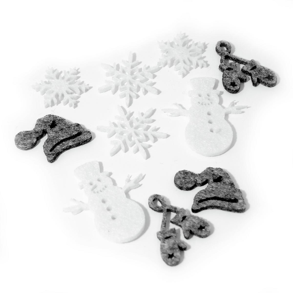 12 x Christmas Snowman Grey/White Embellishments Craft