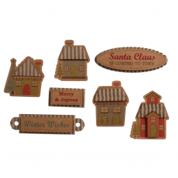 8 x Christmas Santa is Coming to Town Embellishments Craft Scrapbooking