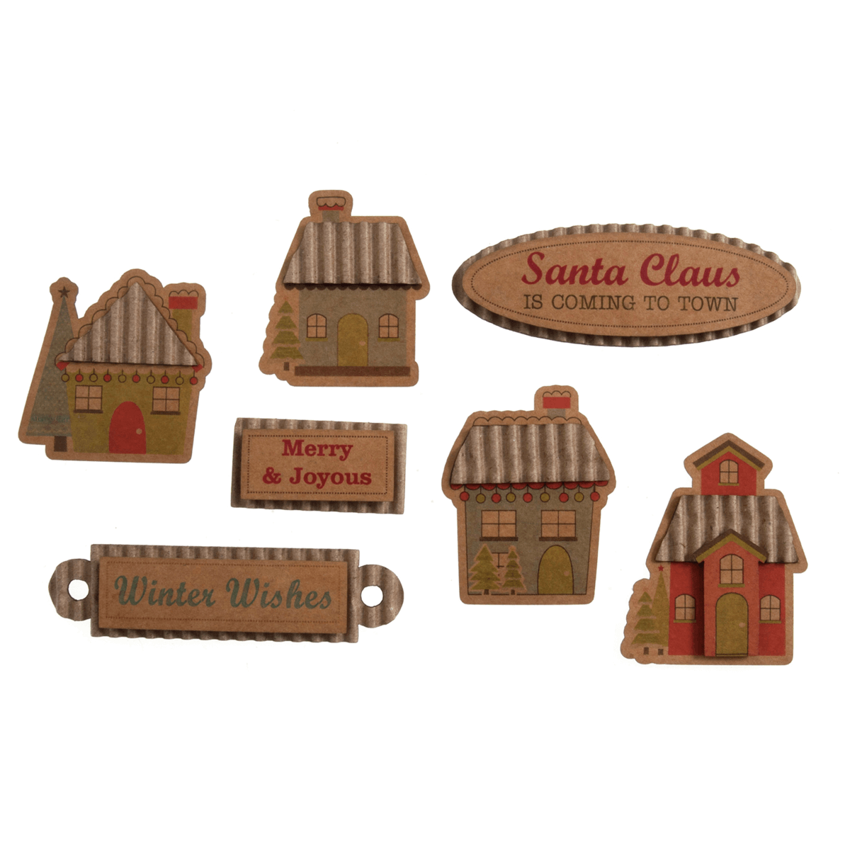 8 x Christmas Santa is Coming to Town Embellishments Craft