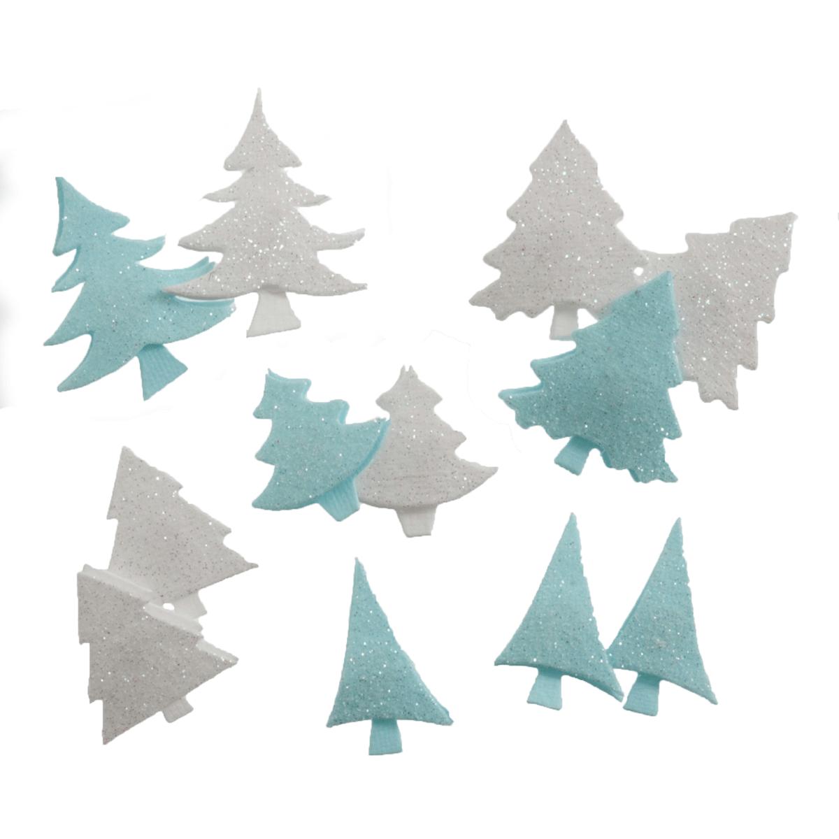 12 x Christmas 3D Mini Glitter Trees Embellishments Craft