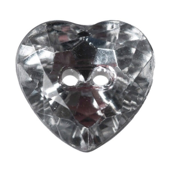 Pack of 5 Hemline Crystal Hearts 2 Hole Sew Through Buttons 12mm
