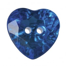 Pack of 3 Hemline Crystal Hearts 2 Hole Sew Through Buttons 20mm