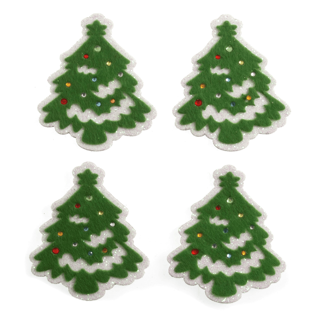 4 x Christmas Felt Snowy Trees Craft Scrap booking