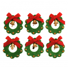 6 x Christmas Wreath with Bells Craft Embellishments Scrapbooking