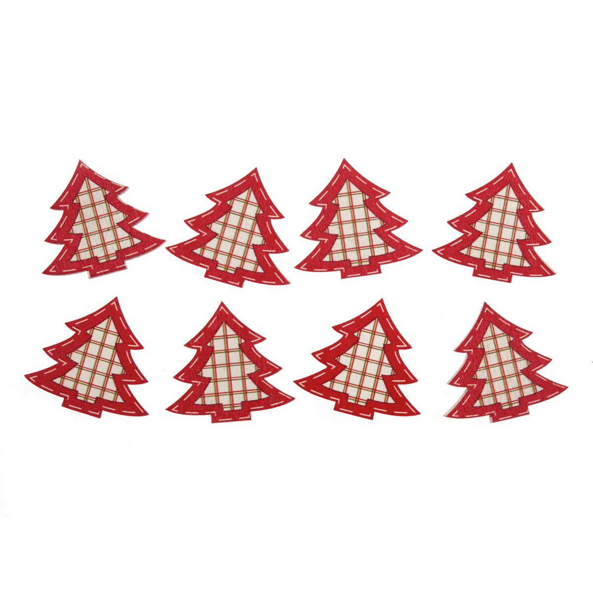8 x Christmas Red Check Trees Craft Scrap booking