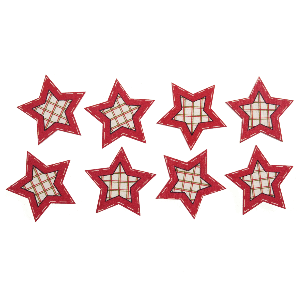 8 x Christmas Red Check Stars Craft Scrap booking