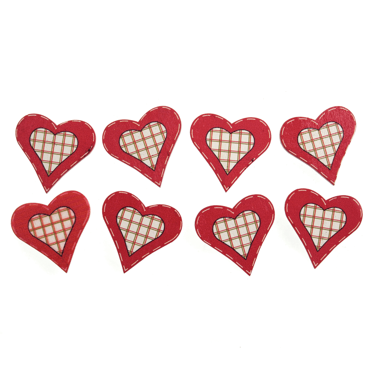 8 x Christmas Red Check Hearts Craft Embellishments Scrap booking