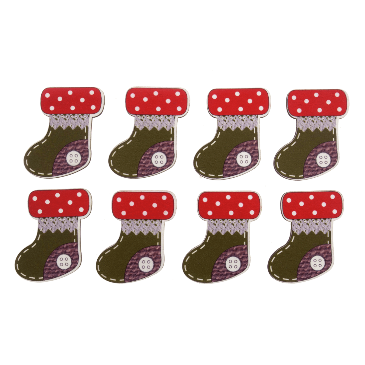 8 x Christmas Wooden Stocking Craft Embellishments Scrap booking