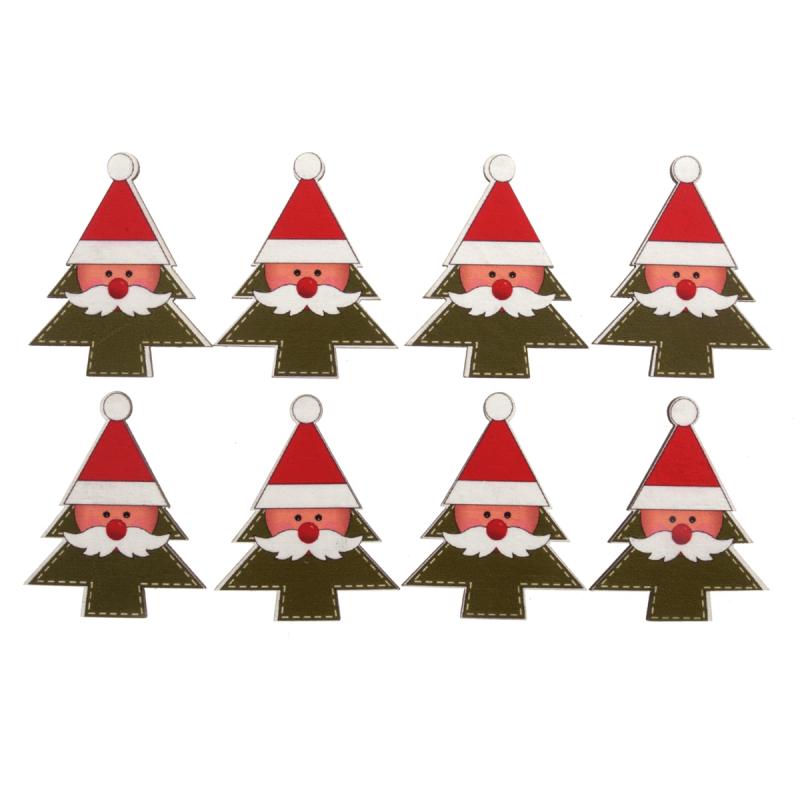 8 x Christmas Santa In Tree Craft Embellishments Scrap booking