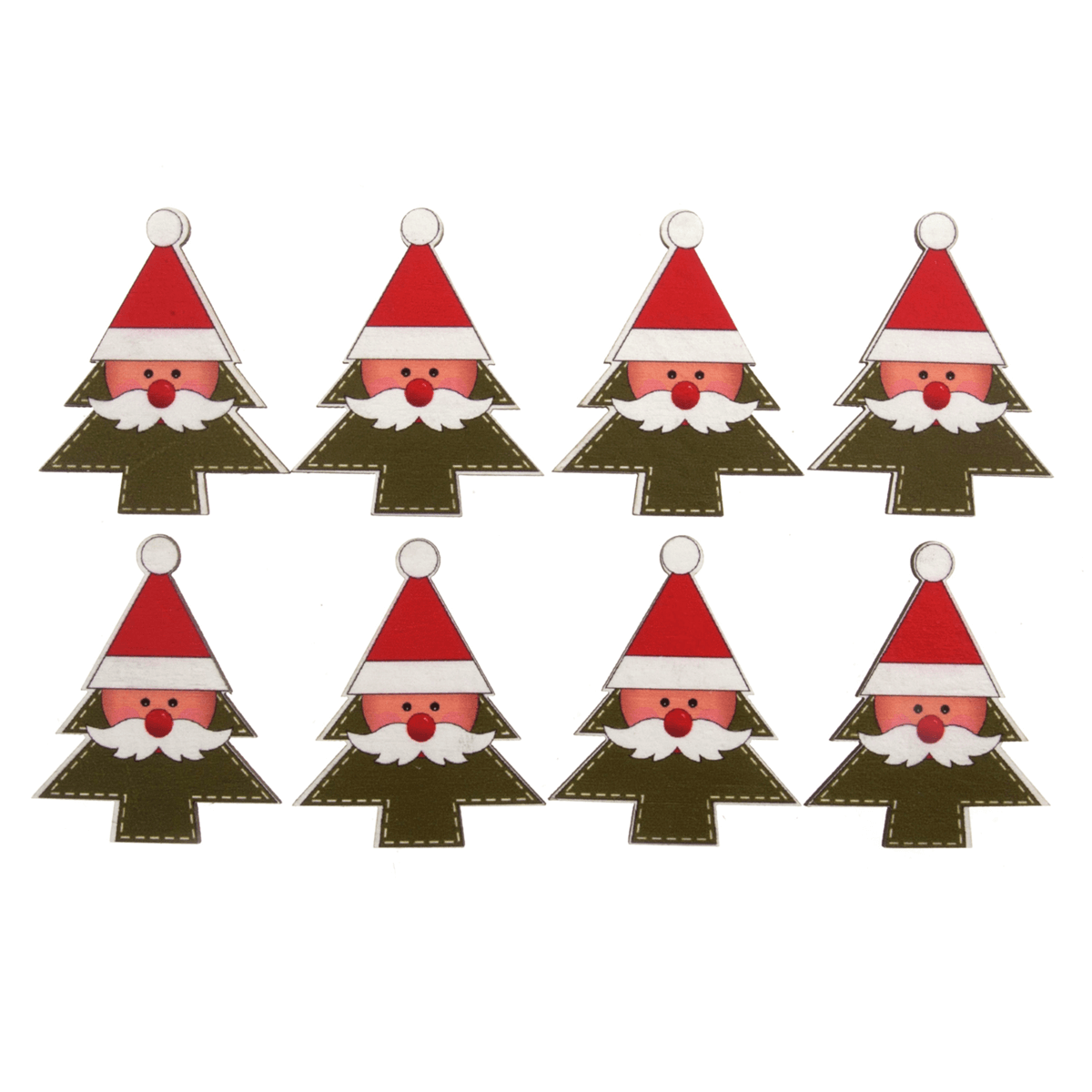 8 x Christmas Santa In Tree Craft Embellishments Scrap booking