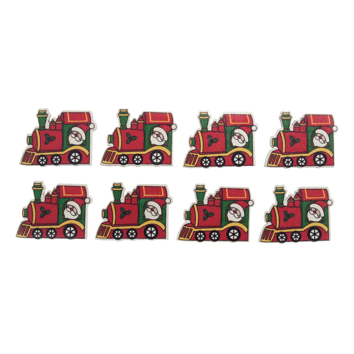 8 x Christmas Santa's Train Embellishments Scrap booking