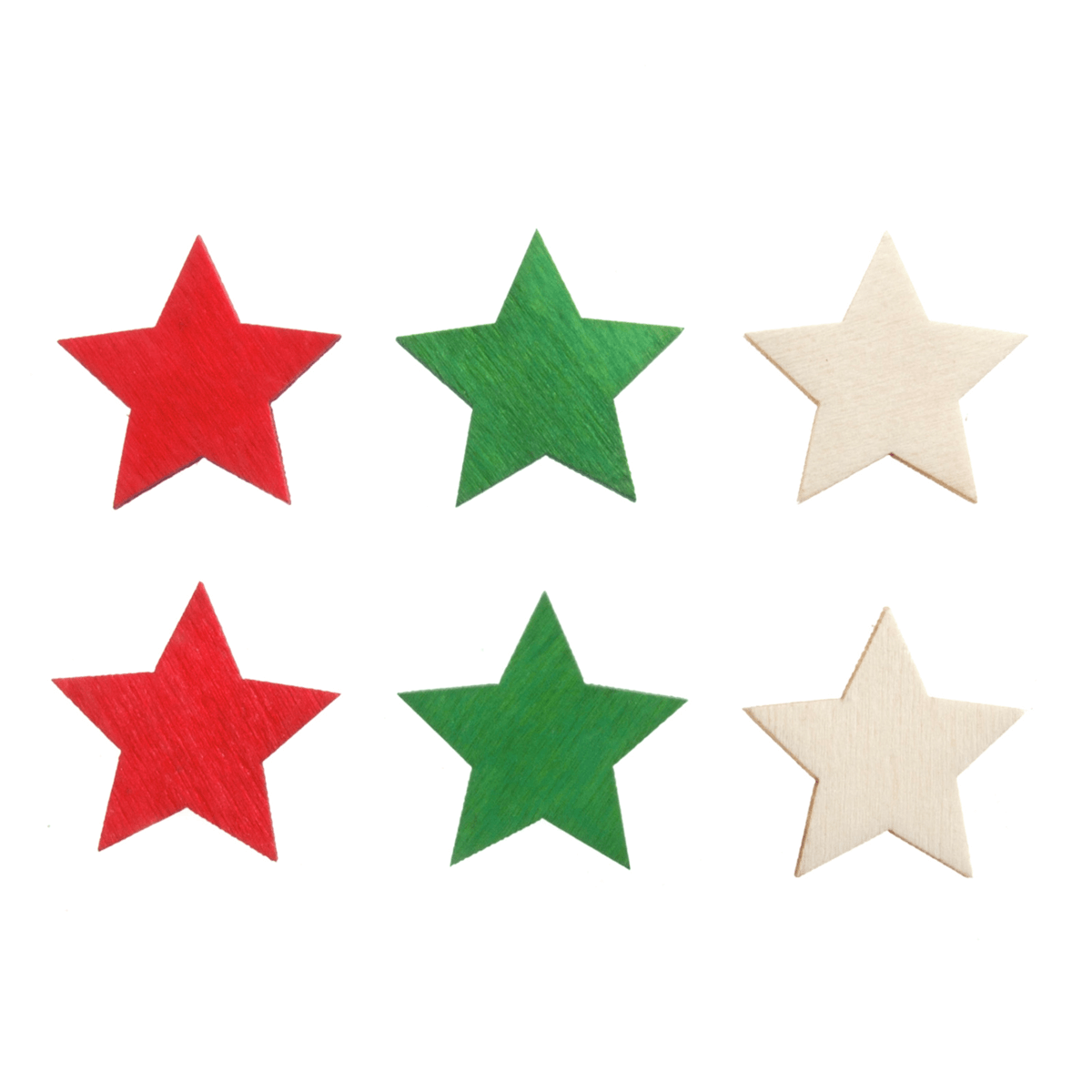 12 x Christmas Bright Wooden Stars Embellishments Scrap booking