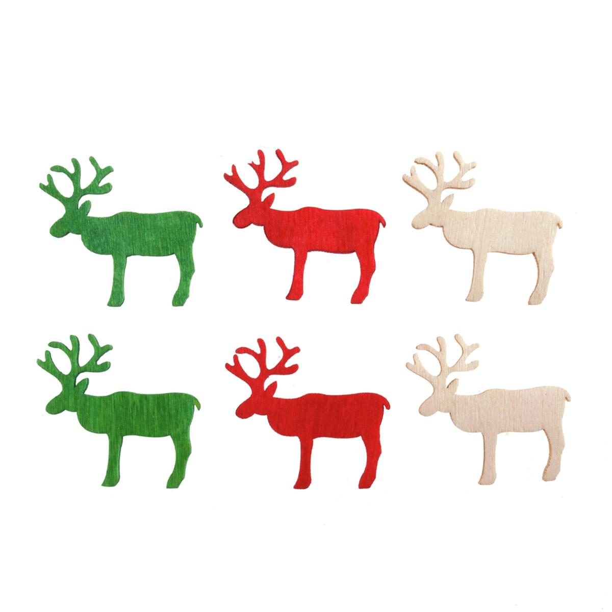12 x Christmas Bright Wooden Reindeer Embellishments Scrap booking