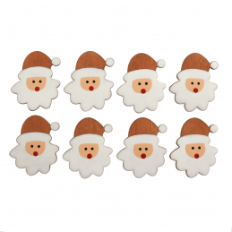 10 x Wooden Festive Father Christmas Santa Faces Embellishments Scrapbooking