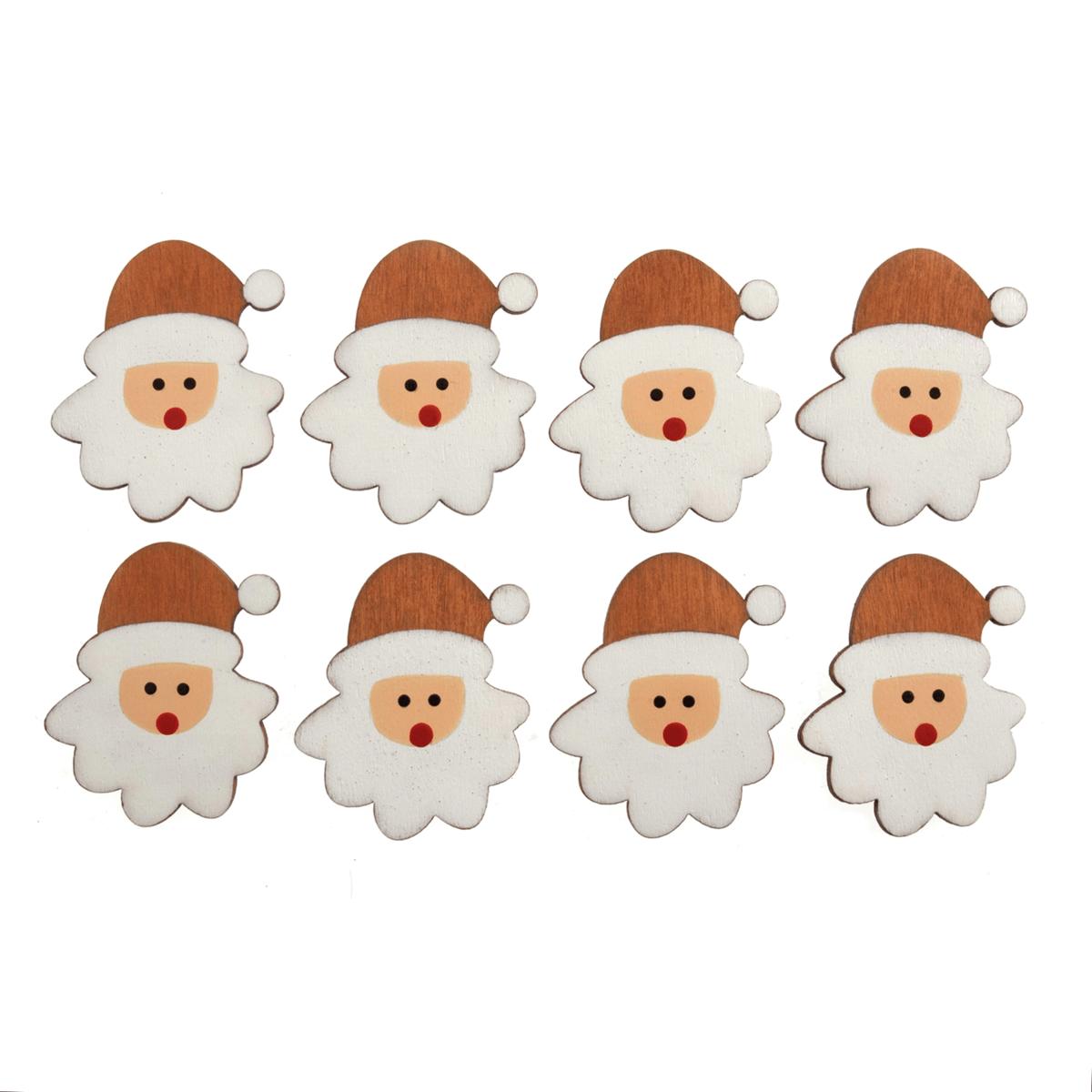 10 x Christmas Wooden Santa Head Embellishments Scrap booking