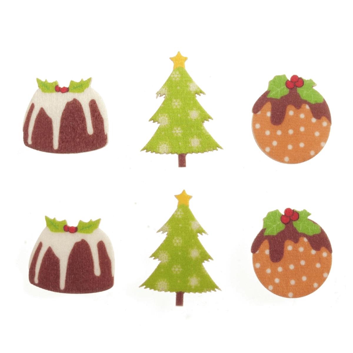 10 x Christmas Wooden Pud & Tree Embellishments Scrap booking