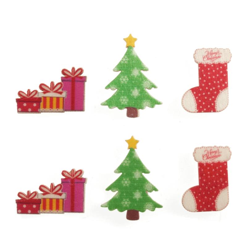6 x Christmas Wooden Assortment  Embellishments Scrap booking