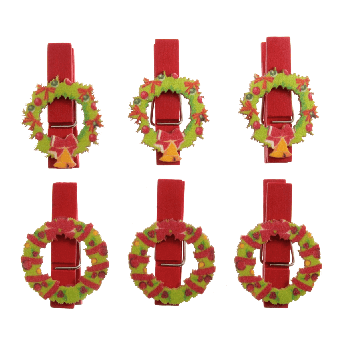 6 x Christmas Wooden Wreath Pegs Embellishments Scrap booking
