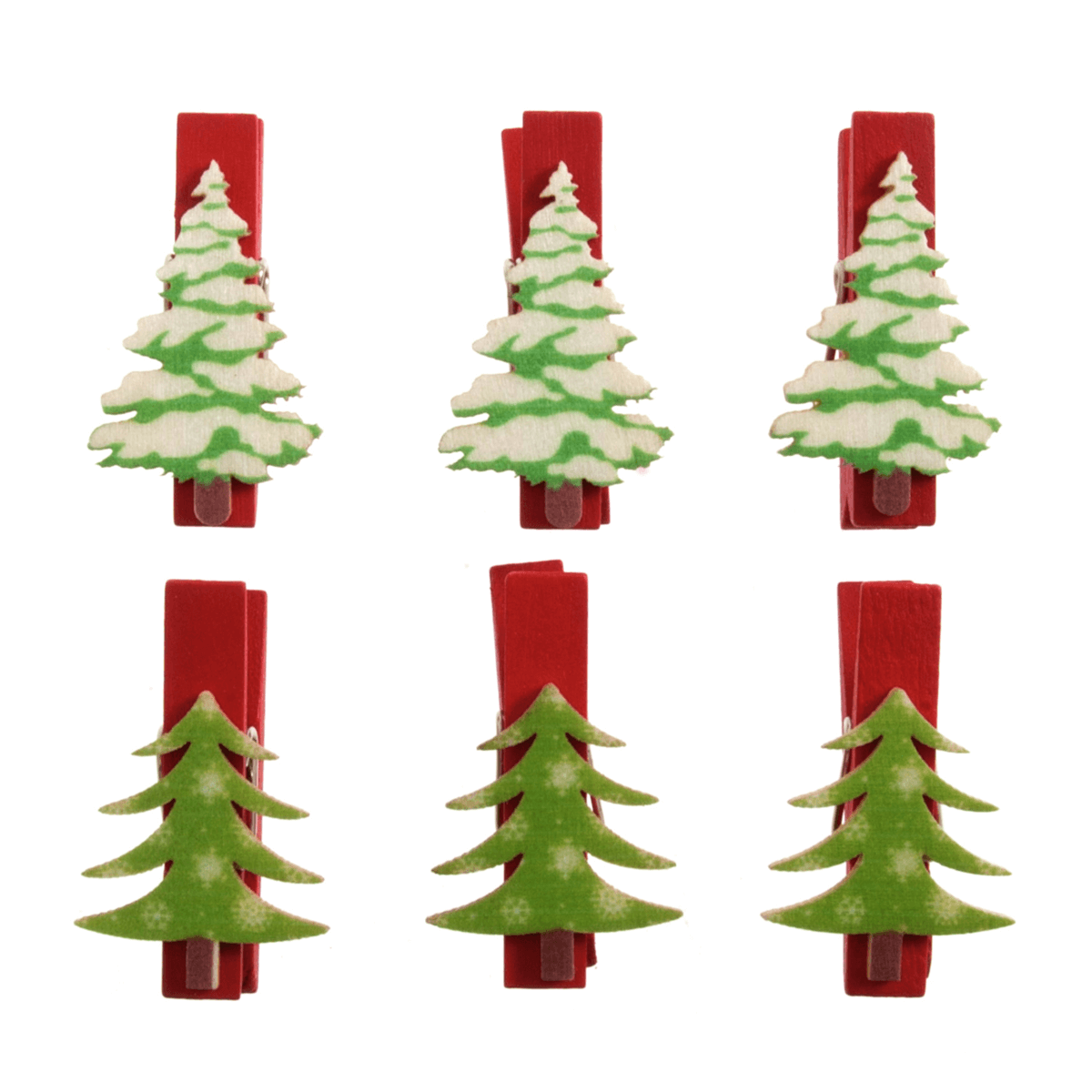 6 x ChristmasTree Pegs Embellishments Scrap booking