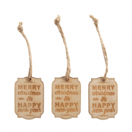 6 x Wooden Gift Tags Small Merry Christmas Embellishments Scrapbooking