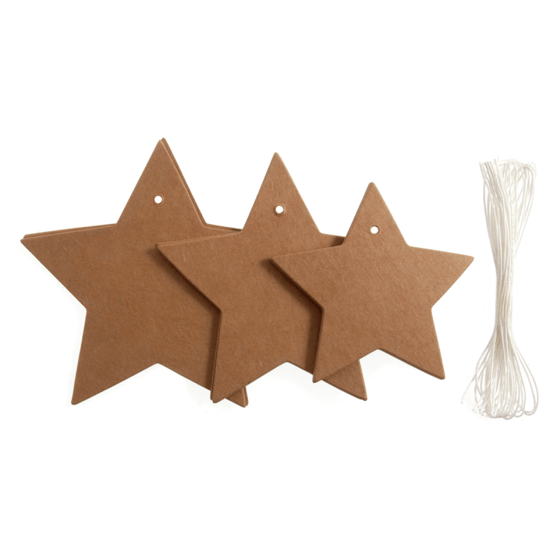 12 x Christmas Star Gift Tags Assorted Sizes Embellishments Scrapbooking