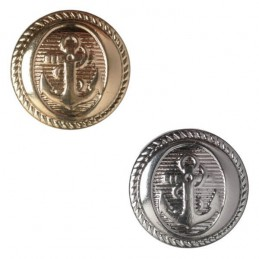 Pack of 5 Hemline Metal Nautical Anchor Design Shank Back Buttons 17.5mm