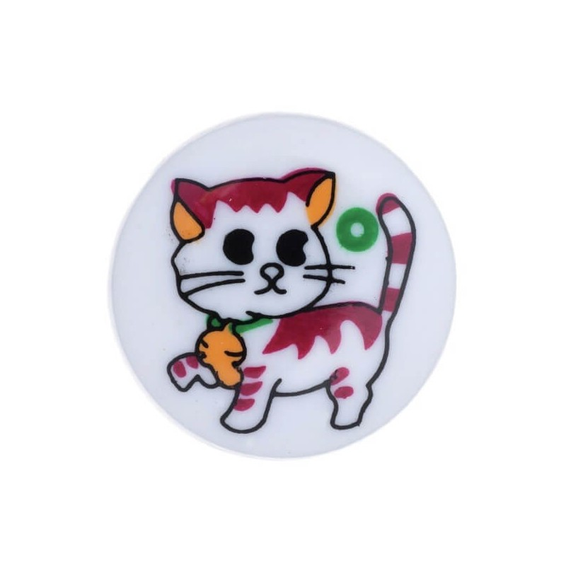 Pack of 4 Hemline Colourful Cartoon Cat Shank Back Buttons 15mm