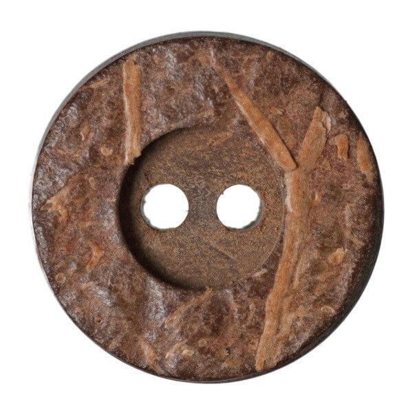 Pack of 4 Hemline Plain Wood Effect 2 Hole Sew Through Dish Buttons 20mm
