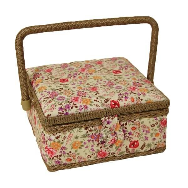 Wild Meadow Floral Flowers Small Square Sewing Basket Craft Hobby