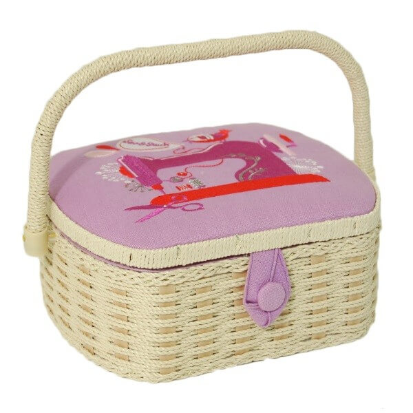 Garden Life Flowers Floral Large Rectangular Sewing Basket Craft Hobby