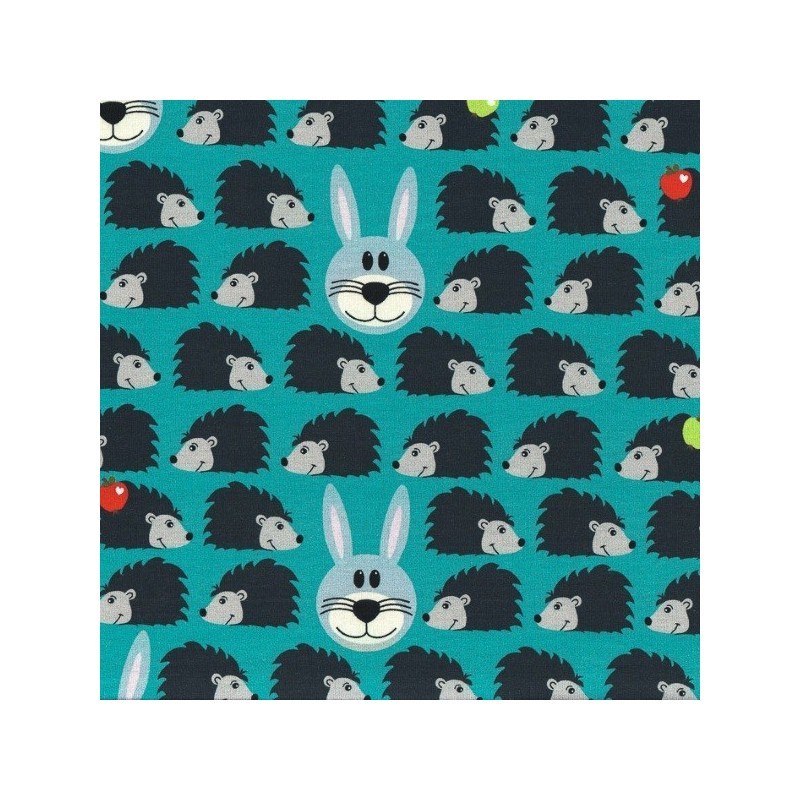 Cute Hedghogs In Rows Apples And Bunny Rabbit Faces Cotton Jersey Stretch Fabric