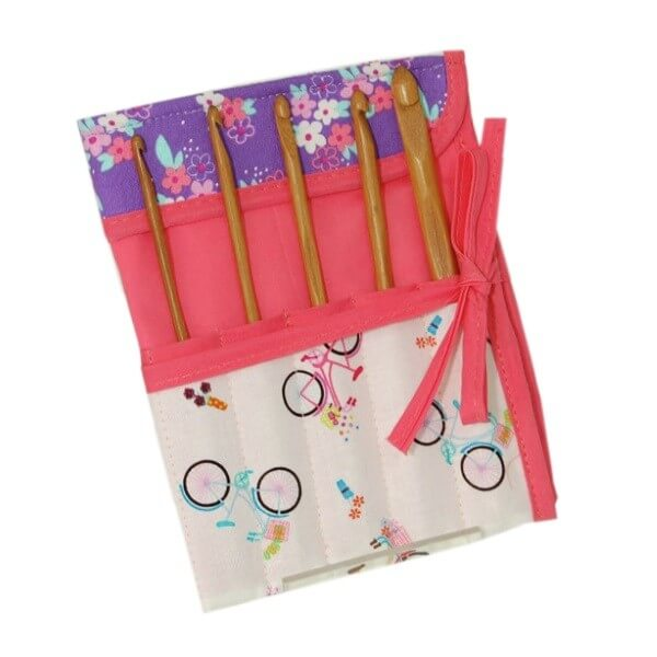 Bicycle Collection Crochet Hook Case Roll With 7 Hooks Storage Accessories