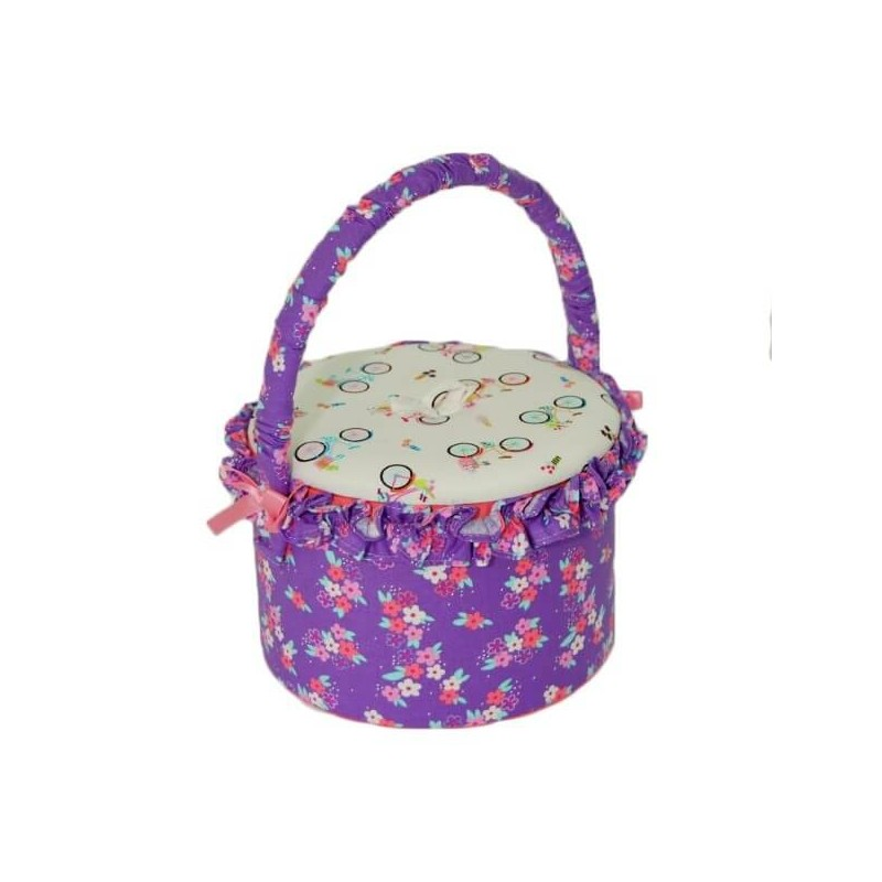 Bicycle Collection Small Floral Round Caddy With Lid Sewing And Craft Basket