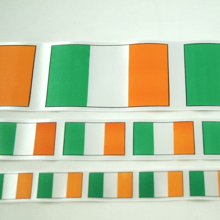 Irish Tricolour Ribbon 25mm, 35mm, 70mm