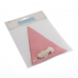 Make Your Own Bunting Flag Kit Pink with White Spot Celebration Decoration