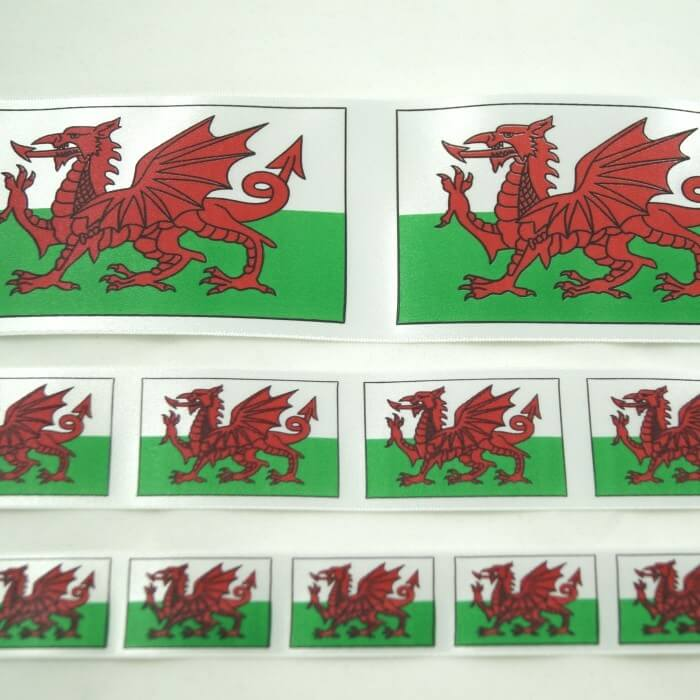 Welsh Dragon Tricolour Ribbon 25mm, 35mm, 70mm