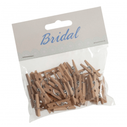 45 x Bridal Natural Wood 25mm Craft Pegs Embellishments Wedding