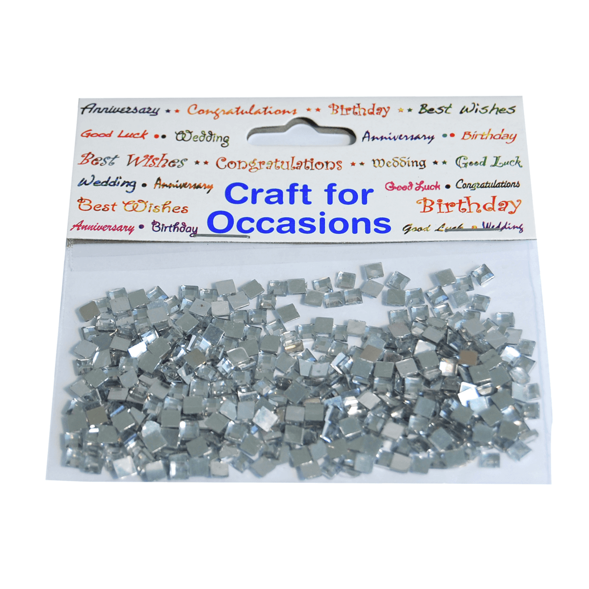 400 x Gems Square: Silver Craft Embellishments Cardmaking